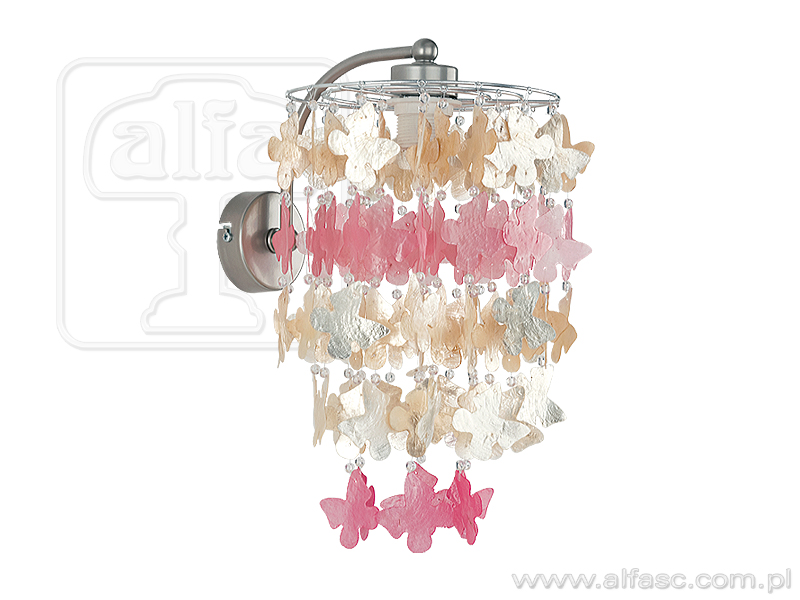 ALFA • CONCHA, fali lámpa, pillangós, rózsaszín, ALFA
