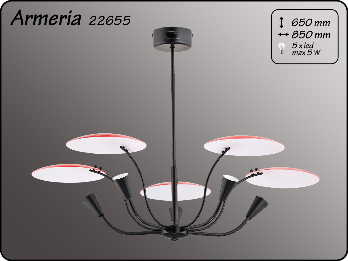 ALFA • ARMERIA BLACK RED, 5 ágú csillár, ALFA