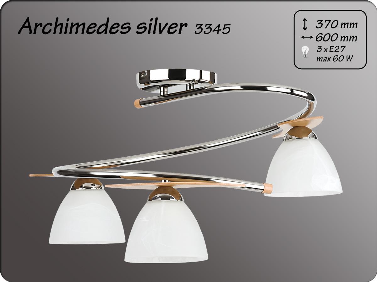 ALFA • ARCHIMEDES SILVER,  3 ágú mennyezeti lámpa, spirál, ALFA