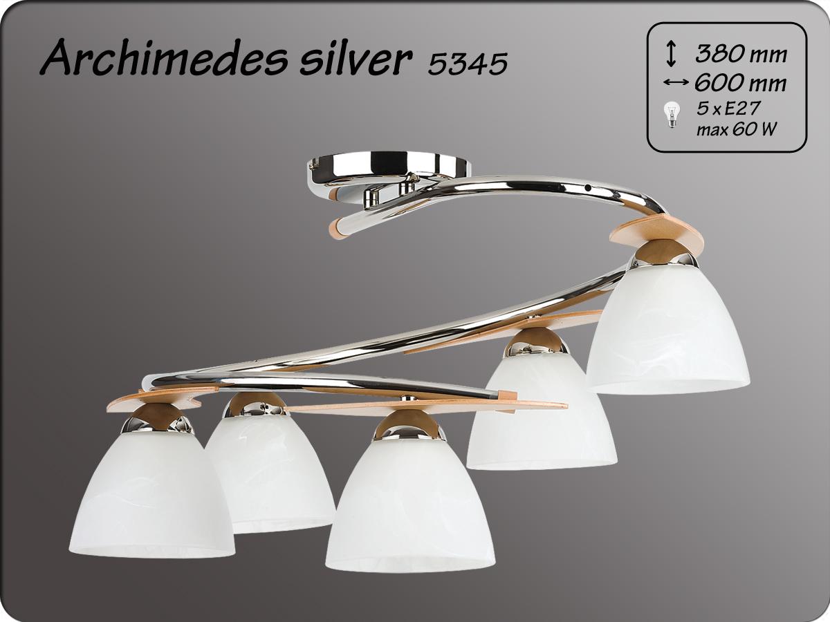 ALFA • ARCHIMEDES SILVER, 5 ágú mennyezeti lámpa, spirál, ALFA