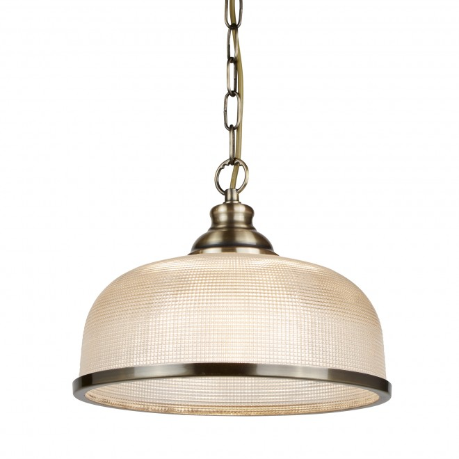 Searchlight Bistro II  BISTRO II - 1LT PENDANT ANTIQUE BRASS HALOPHANE GLASS