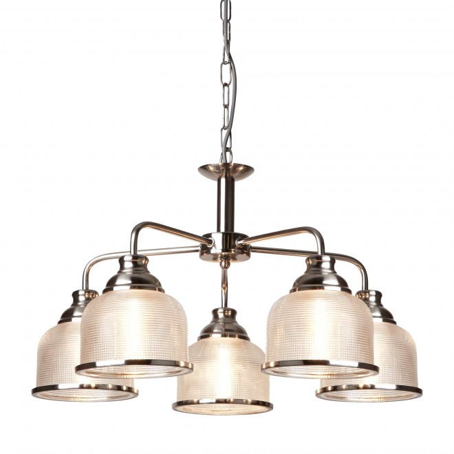 Searchlight Bistro II  BISTRO II - 5LT CEILING SATIN SILVER HALOPHANE GLASS