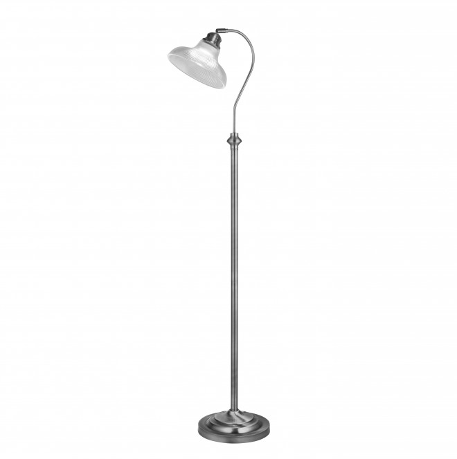 Searchlight Bistro III  BISTRO III - FLOOR LAMP SATIN SILVER CLEAR GLASS